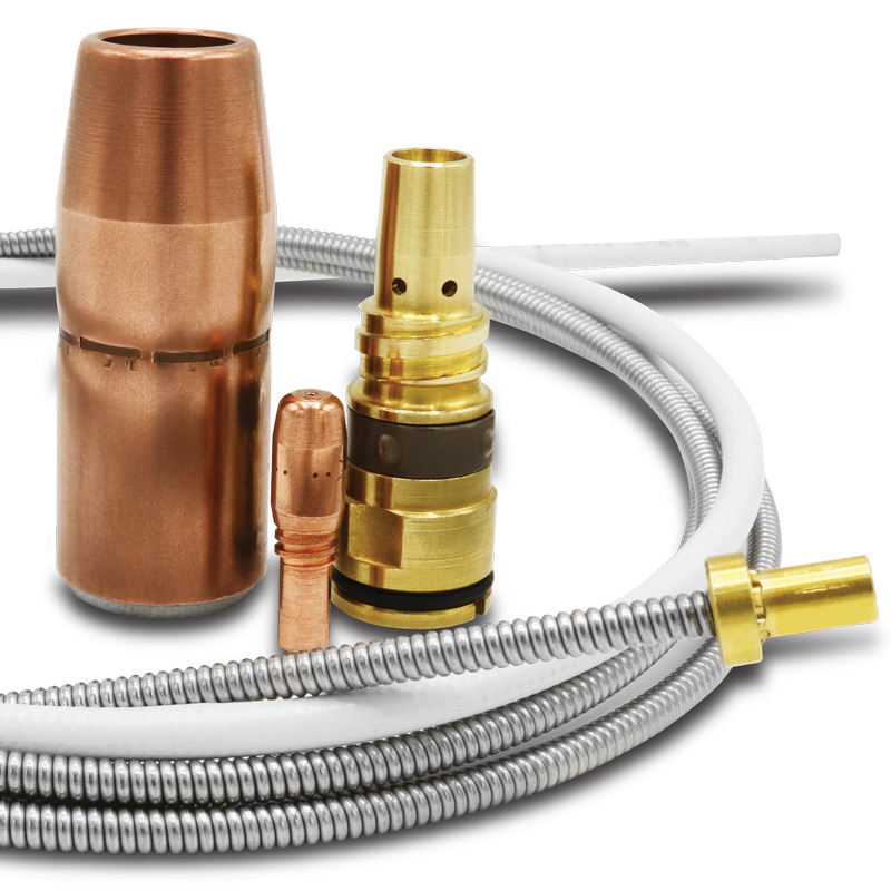 AccuLock S consumables family including contact tip, nozzle, diffuser and liner