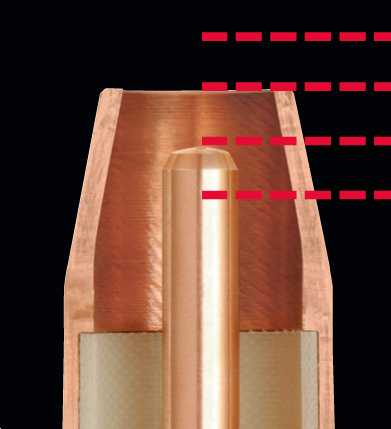 Close up image of recessed contact tip