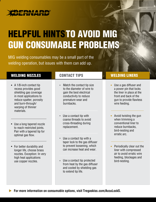 Helpful hints to avoid MIG gun consumable problems