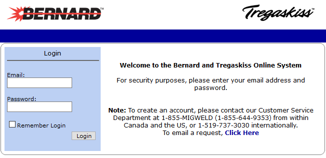 Screen capture showing the Bernard and Tregaskiss MyWeldOrder distributor portal