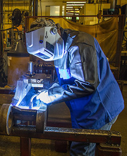 Semi-automatic MIG welding in action